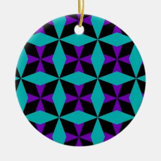 Crossed Diamond Pattern Round Ceramic Decoration