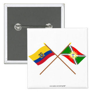Crossed Ecuador and Santo Domingo flags 15 Cm Square Badge