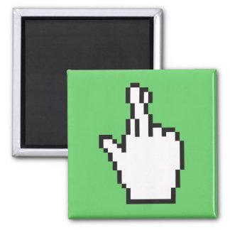 Crossed Fingers Cursor Square Magnet