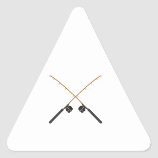 CROSSED FISHING RODS TRIANGLE STICKER