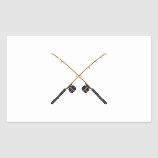 CROSSED FISHING RODS RECTANGLE STICKER