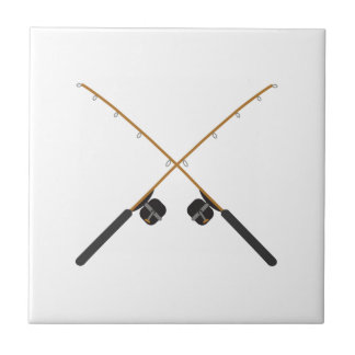 CROSSED FISHING RODS SMALL SQUARE TILE