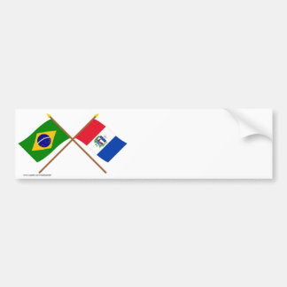 Crossed Flags of Brazil and Alagoas Bumper Sticker