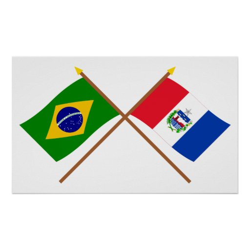 Crossed Flags of Brazil and Alagoas Poster