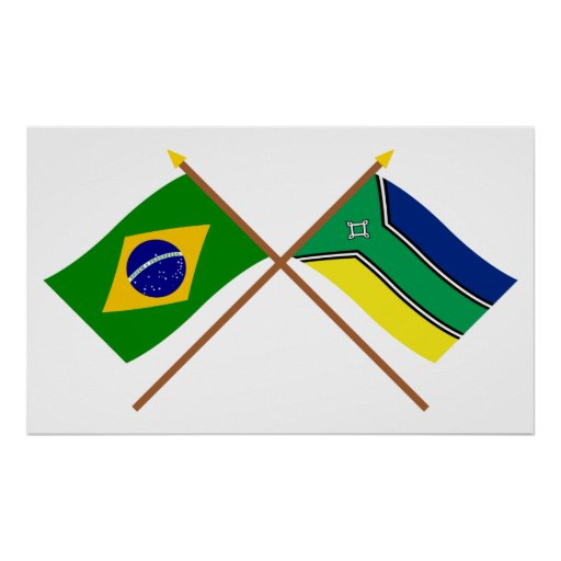 Crossed Flags of Brazil and Amapá Posters