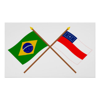 Crossed Flags of Brazil and Amazonas Print