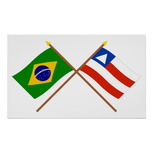 Crossed Flags of Brazil and Bahia Posters