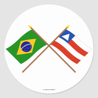 Crossed Flags of Brazil and Bahia Round Stickers