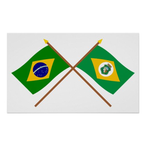 Crossed Flags of Brazil and Ceará Print