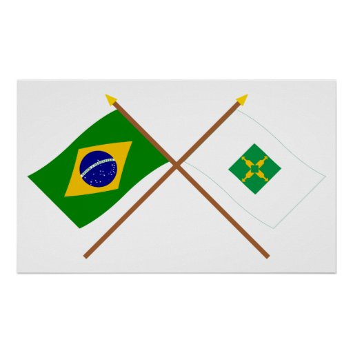 Crossed Flags of Brazil and Distrito Federal Posters