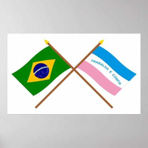 Crossed Flags of Brazil and Espírito Santo Print
