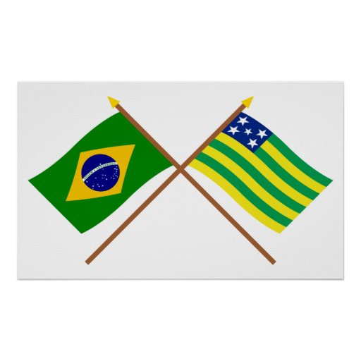 Crossed Flags of Brazil and Goiás Posters