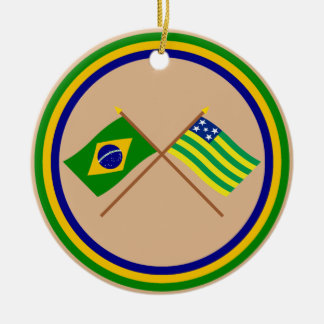 Crossed Flags of Brazil and Goiás Round Ceramic Decoration