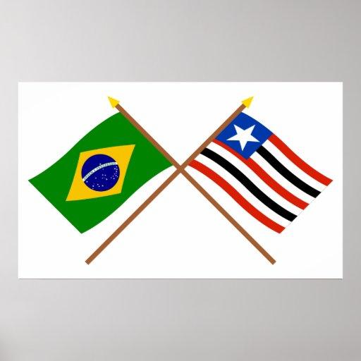 Crossed Flags of Brazil and Maranhão Print
