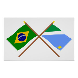 Crossed Flags of Brazil and Mato Grosso do Sul Poster
