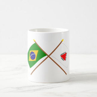 Crossed Flags of Brazil and Minas Gerais Basic White Mug