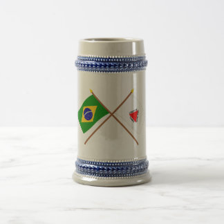 Crossed Flags of Brazil and Minas Gerais Beer Steins