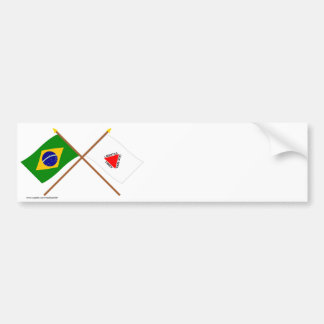Crossed Flags of Brazil and Minas Gerais Bumper Sticker