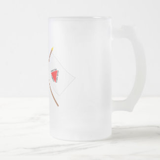 Crossed Flags of Brazil and Minas Gerais Frosted Glass Beer Mug
