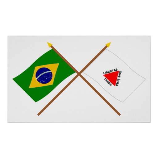 Crossed Flags of Brazil and Minas Gerais Posters