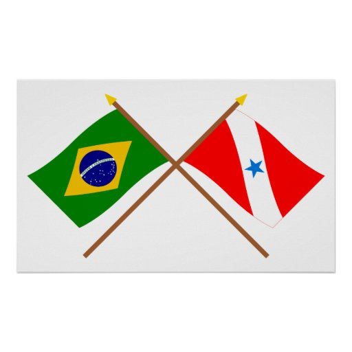 Crossed Flags of Brazil and Pará Posters