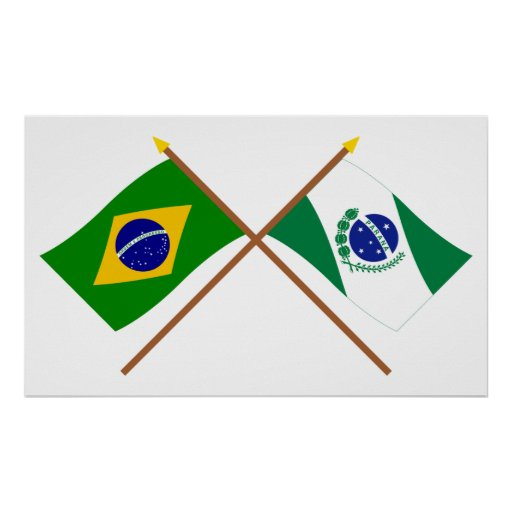 Crossed Flags of Brazil and Paraná Print