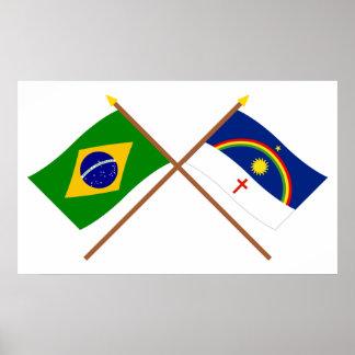 Crossed Flags of Brazil and Pernambuco Print