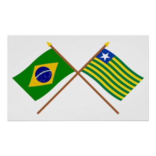 Crossed Flags of Brazil and Piauí Poster