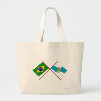 Crossed Flags of Brazil and Rio de Janeiro Large Tote Bag