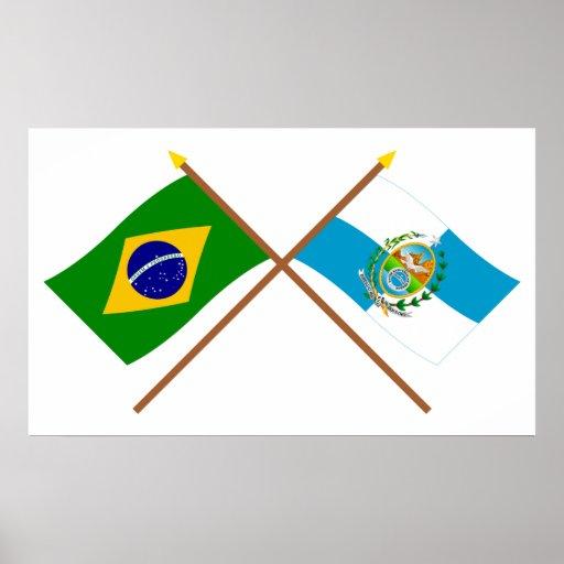 Crossed Flags of Brazil and Rio de Janeiro Print