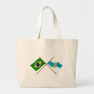 Crossed Flags of Brazil and Rio de Janeiro Jumbo Tote Bag