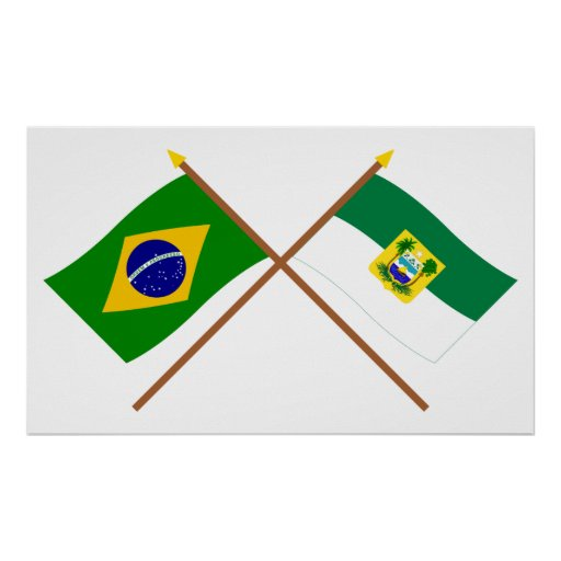 Crossed Flags of Brazil and Rio Grande do Norte Posters