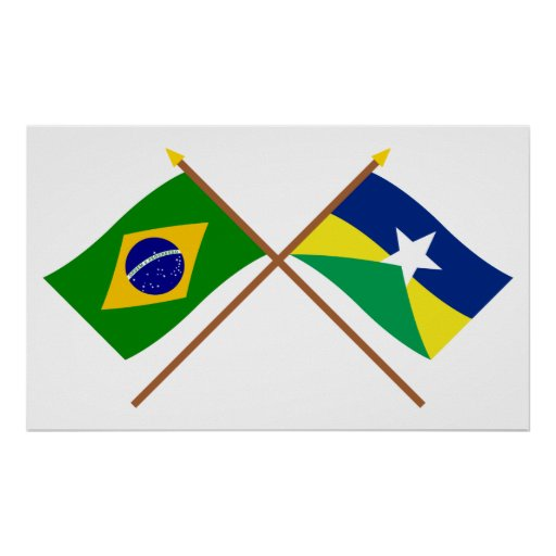 Crossed Flags of Brazil and Rondônia Print