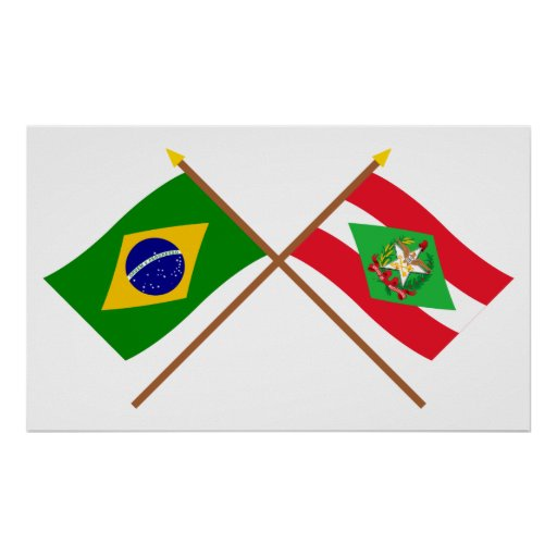 Crossed Flags of Brazil and Santa Catarina Poster