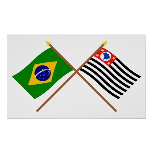 Crossed Flags of Brazil and São Paulo Poster