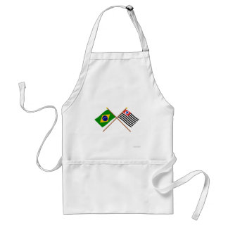 Crossed Flags of Brazil and São Paulo Standard Apron