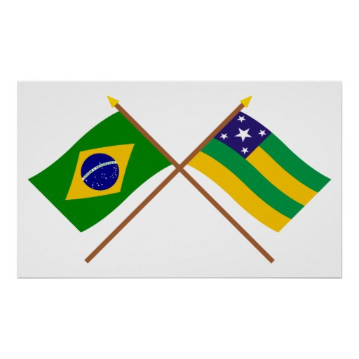 Crossed Flags of Brazil and Sergipe Print