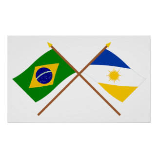 Crossed Flags of Brazil and Tocantins Poster