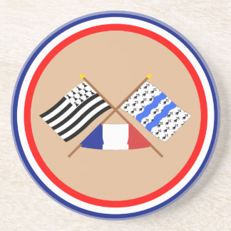 Crossed flags of Bretagne and Ille-et-Vilaine Coaster