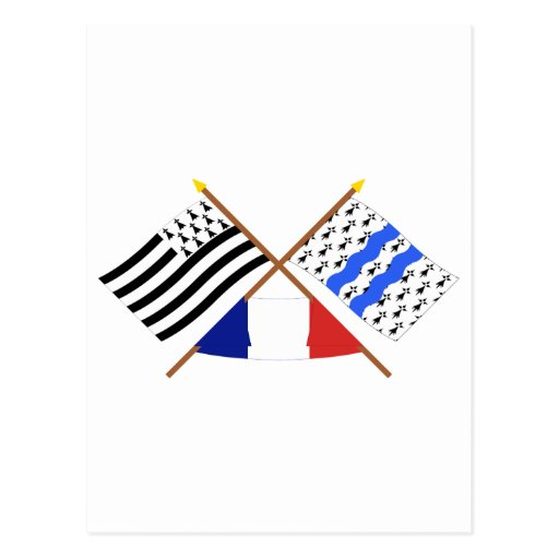 Crossed flags of Bretagne and Ille-et-Vilaine Post Cards