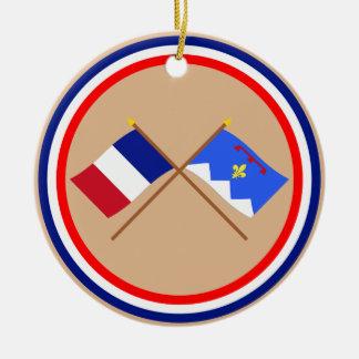 Crossed flags of France & Alpes-de-Haute-Provence Round Ceramic Decoration