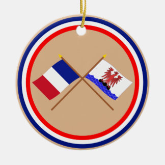 Crossed flags of France and Alpes-Maritimes Double-Sided Ceramic Round Christmas Ornament