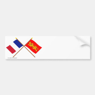Crossed flags of France and Aquitaine Bumper Sticker