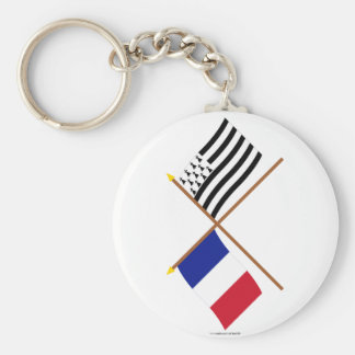 Crossed flags of France and Bretagne Basic Round Button Key Ring