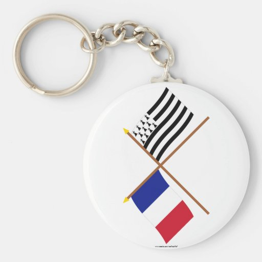 Crossed flags of France and Bretagne Key Chains