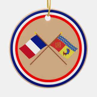 Crossed flags of France and Hautes-Alpes Double-Sided Ceramic Round Christmas Ornament