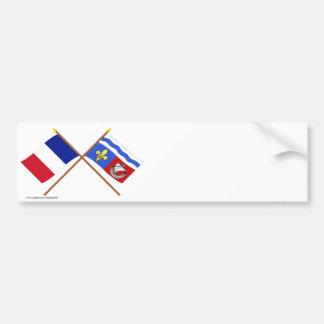 Crossed flags of France and Hauts-de-Seine Bumper Sticker