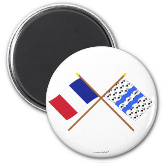 Crossed flags of France and Ille-et-Vilaine 6 Cm Round Magnet
