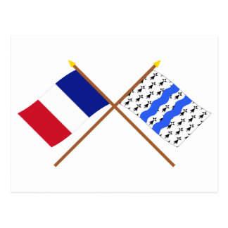 Crossed flags of France and Ille-et-Vilaine Postcard