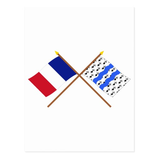 Crossed flags of France and Ille-et-Vilaine Post Cards